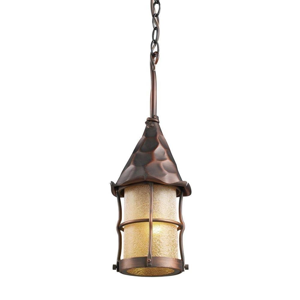 Outdoor Ceiling Hanging Lights Regarding Popular Titan Lighting Rustica 1 Light Antique Copper Outdoor Ceiling Mount (View 10 of 20)