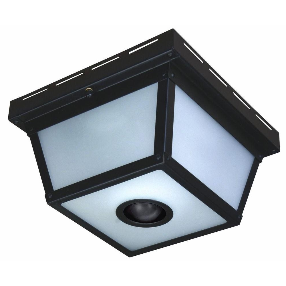 Outdoor Ceiling Lighting Fixtures Within 2018 Hampton Bay 360° Square 4 Light Black Motion Sensing Outdoor Flush (View 12 of 20)