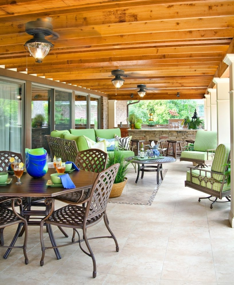 Outdoor Ceiling Lights For Patio Throughout Favorite Outdoor Entertaining Patio Traditional With Stone Dining Tables (View 10 of 20)