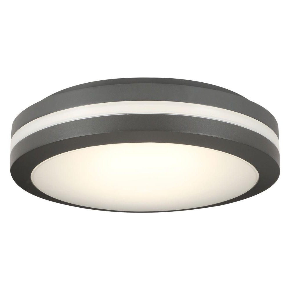 Outdoor Ceiling Motion Sensor Lights Inside Most Recently Released Lithonia Lighting Bronze Outdoor Integrated Led Decorative Flush (View 11 of 20)