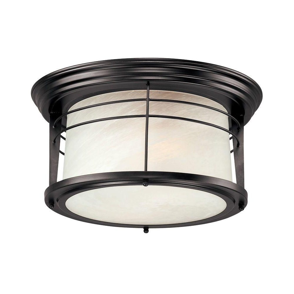 Outdoor Ceiling Mounted Lights Pertaining To Latest Westinghouse Senecaville 2 Light Weathered Bronze Outdoor Flushmount (View 5 of 20)