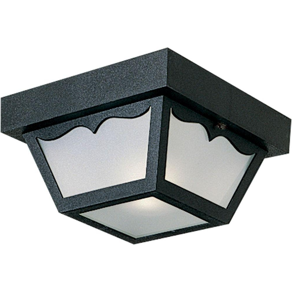 Outdoor Ceiling Mounted Lights Throughout Trendy Progress Lighting Black Outdoor Flushmount P5744 31 – The Home Depot (View 16 of 20)