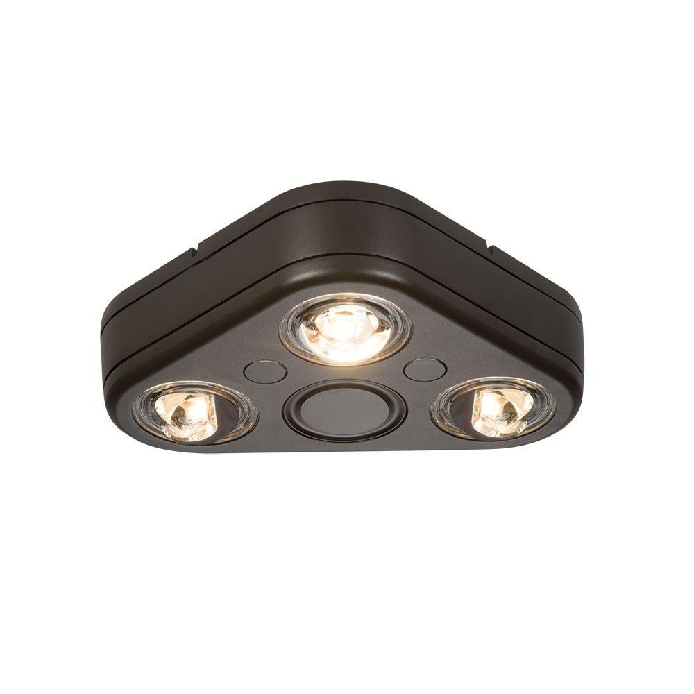 Outdoor Ceiling Security Lights For Newest All Pro Revolve Bronze Triple Head Outdoor Integrated Led Security (View 9 of 20)