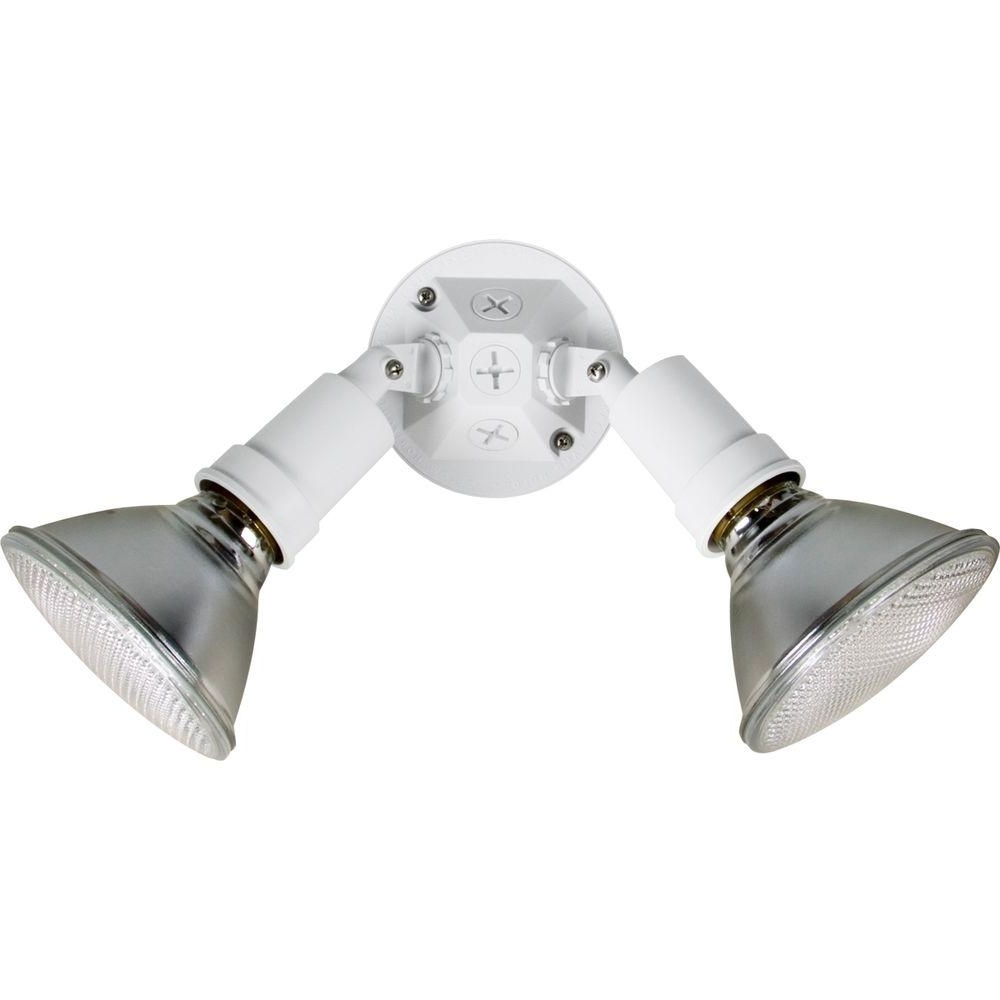 Outdoor Ceiling Security Lights In Well Known Progress Lighting 2 Light White Outdoor Exterior Security Light (View 11 of 20)