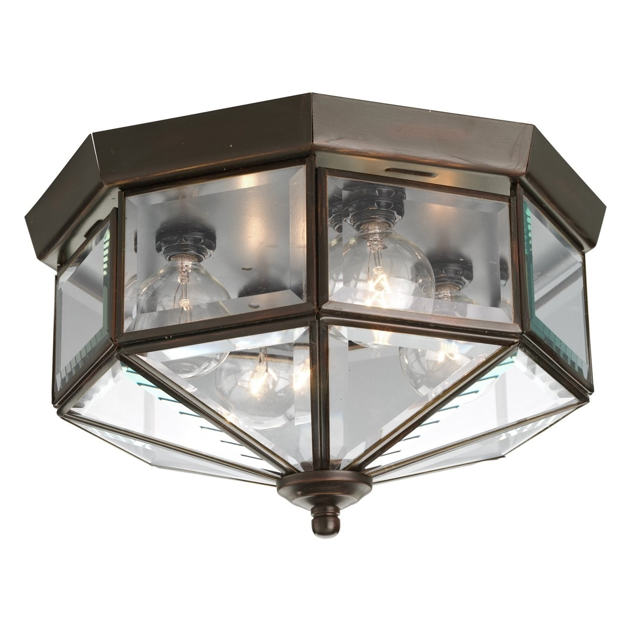 Outdoor Close To Ceiling Lights Within Preferred Progress Lighting P5789 Octagonal 4 Light Flush Mount With Clear (View 14 of 20)