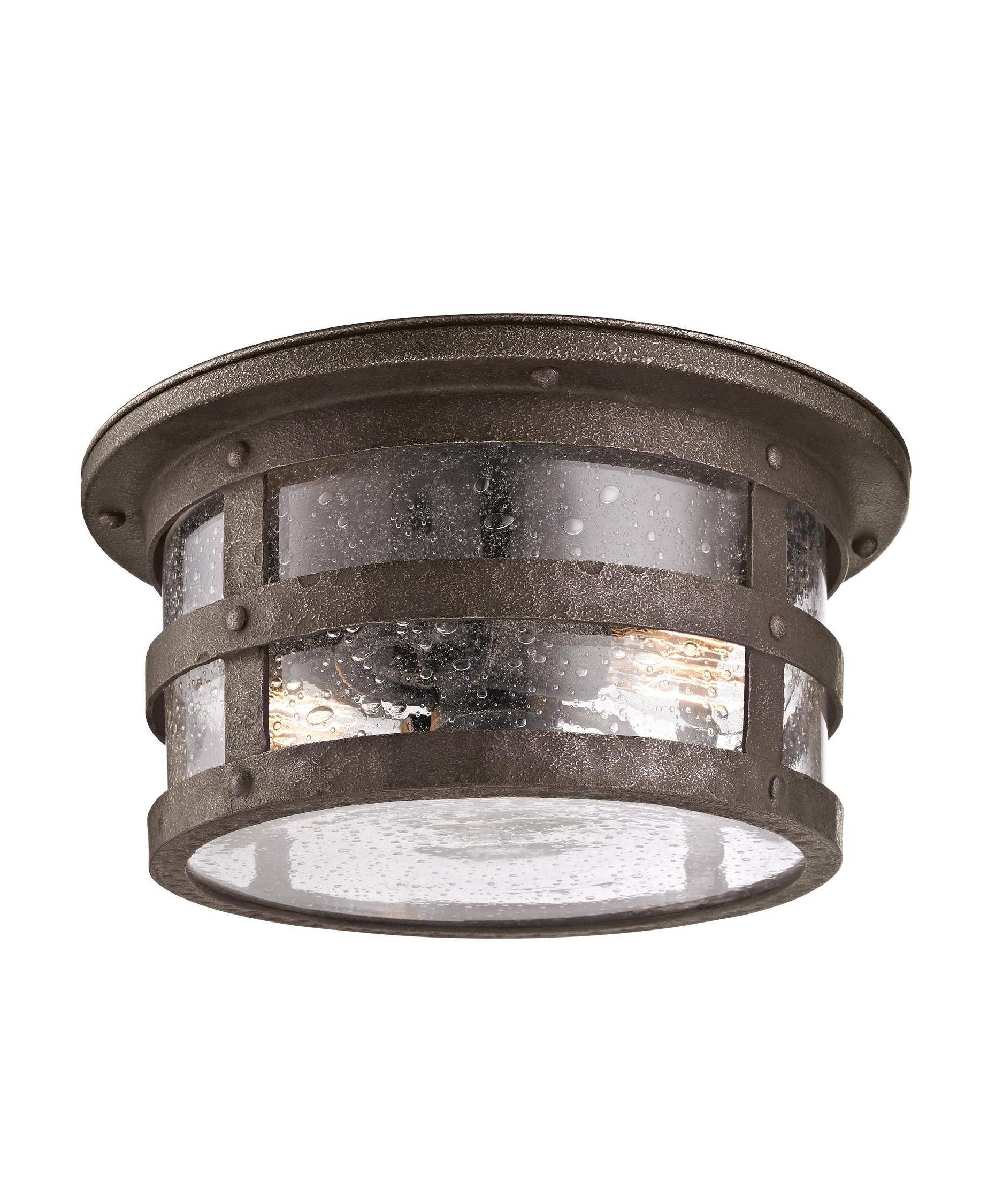Outdoor Fluorescent Ceiling Lights Inside Most Recent Troy Lighting C3310 Barbosa 15 Inch Wide 2 Light Outdoor Flush Mount (View 9 of 20)