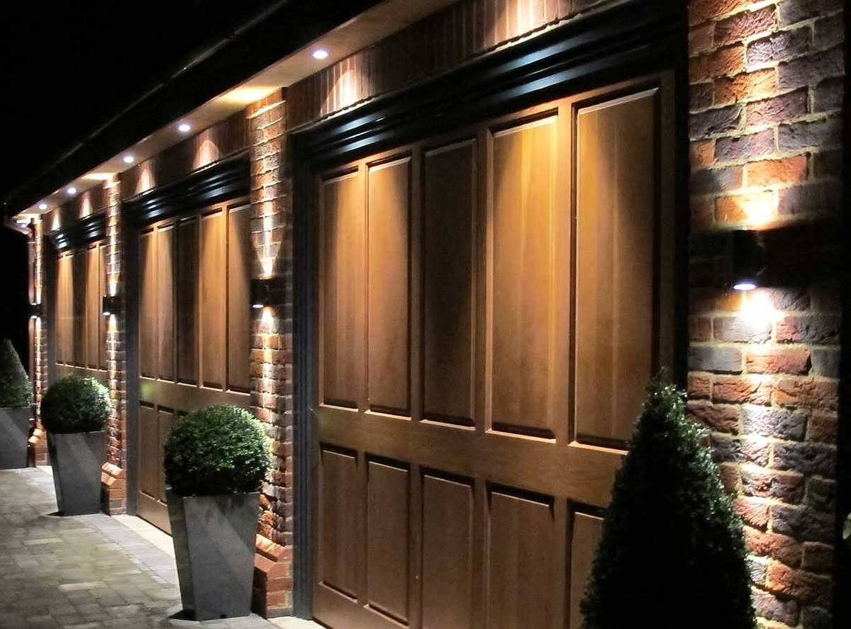 Outdoor Garage : Led Garage Ceiling Lights Outside House Lights Pertaining  To Most Popular Outdoor Hanging