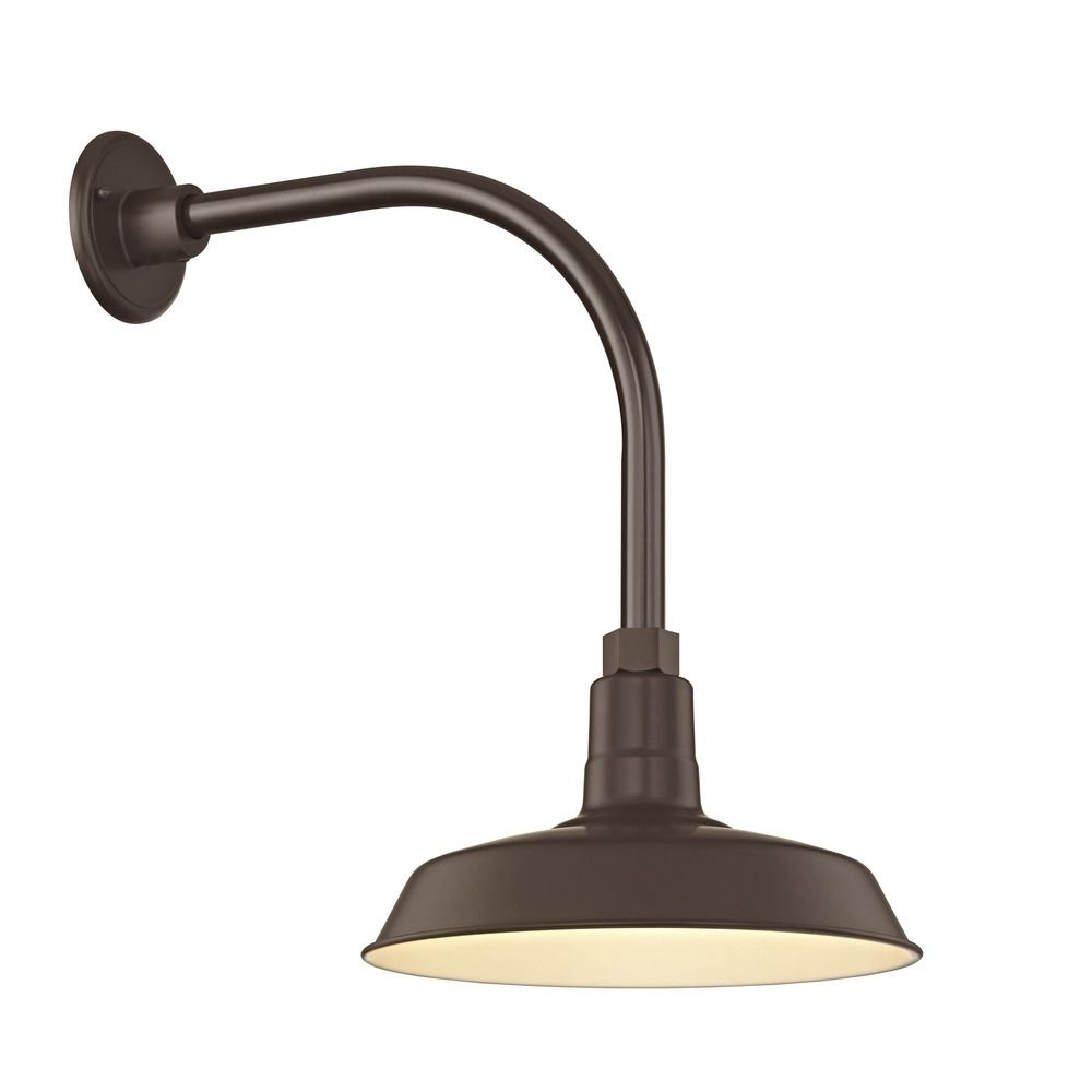 "Outdoor Gooseneck Wall Lighting Throughout Popular Barn Light Outdoor Wall Light Bronze With Gooseneck Arm 12"" Shade (View 12 of 20)"