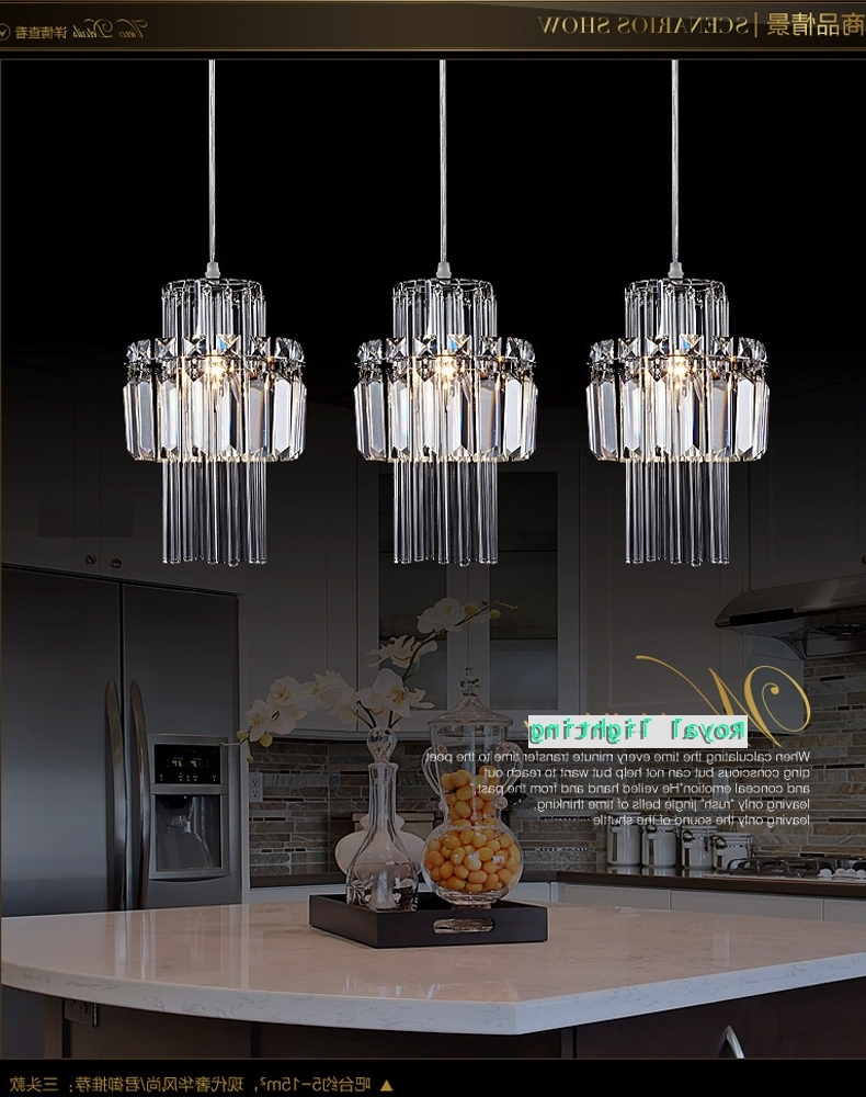 Outdoor Hanging Bar Lights Throughout Latest Dining Room Pendant Crystal Lamp 3 Lights Hanging Lighting (View 15 of 20)