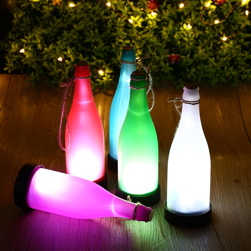 Outdoor Hanging Bottle Lights Regarding Well Liked Hot 5Pcs Plastic Led Solar Wine Bottle Lights Garden Hanging Lamp (View 11 of 20)