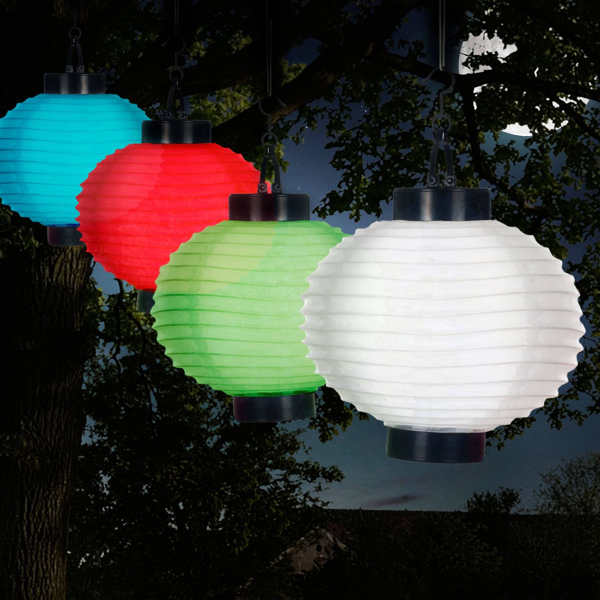 Outdoor Hanging Chinese Lanterns Regarding Most Current Pure Garden Outdoor Solar Chinese Lanterns, Led, Set Of 4 – Walmart (Gallery 5 of 20)