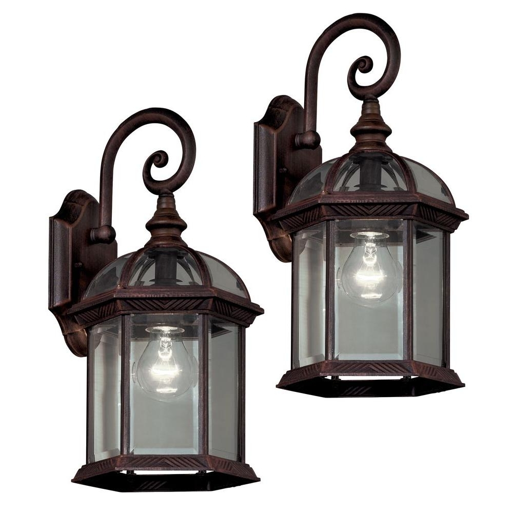 Outdoor Hanging Coach Lanterns Intended For Well Known Hampton Bay Twin Pack 1 Light Weathered Bronze Outdoor Lantern  (View 10 of 20)