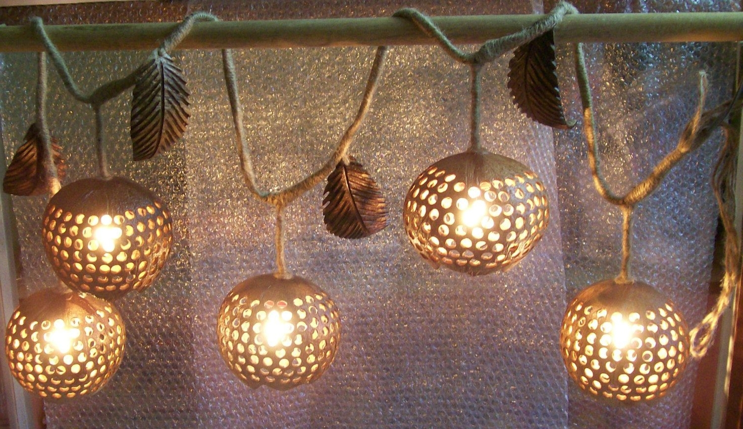 Outdoor Hanging Decorative Lights Within Well Known Wood Hanging Lamp Ivy 5 Ball Coconut Shell Fruit Lanterns Ceiling (View 10 of 20)