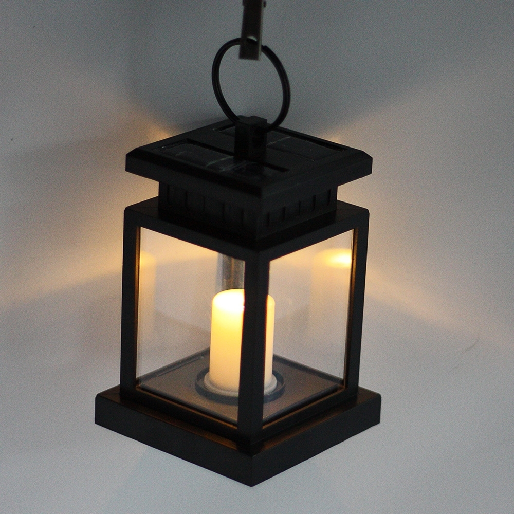 Outdoor Hanging Garden Lanterns Pertaining To Popular Pearlstar Candle Led Solar Hanging Lights Retro Solar Pane Outdoor (View 20 of 20)