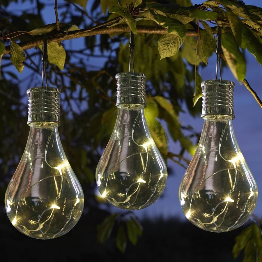 Outdoor Hanging Garden Lanterns Within Favorite Set Of Six Solar Lightbulb Hanging Garden Lights (View 13 of 20)