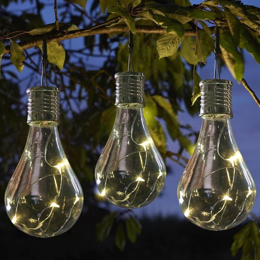 Outdoor Hanging Garden Lanterns Within Favorite Set Of Six Solar Lightbulb Hanging Garden Lights (View 7 of 20)