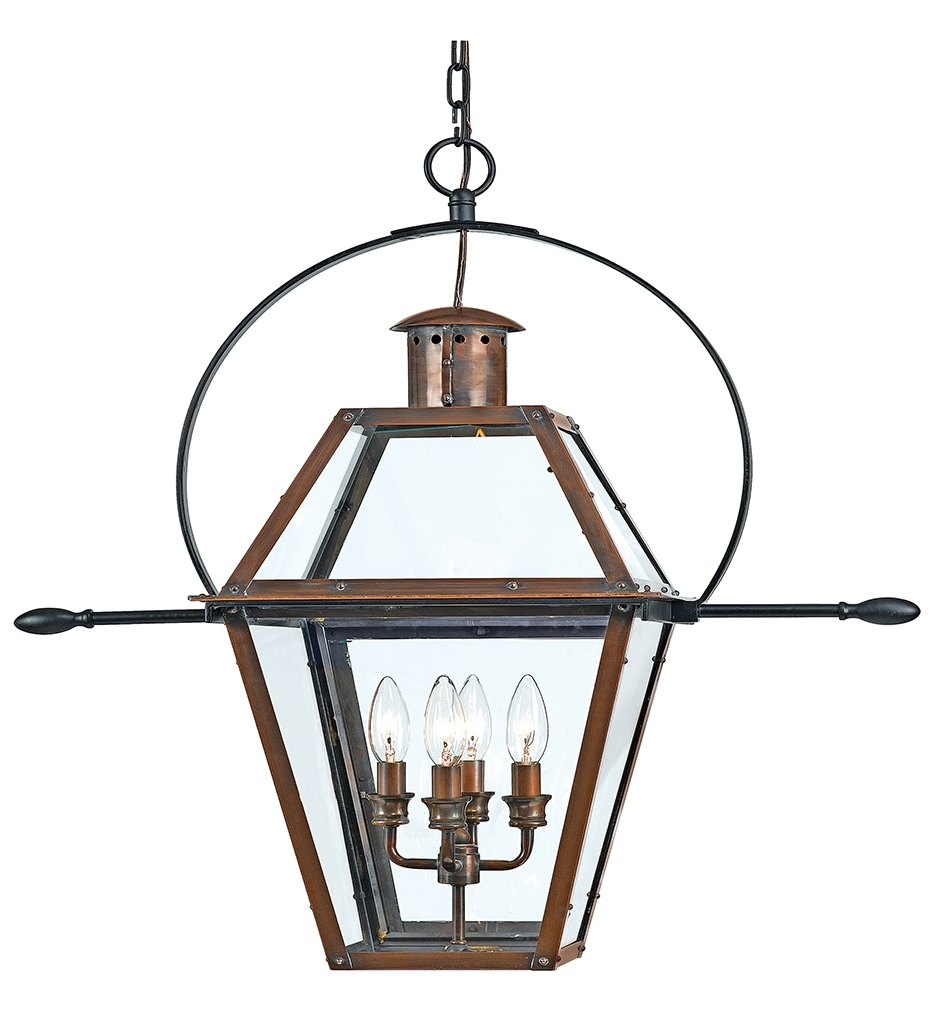 Outdoor Hanging Gas Lights Throughout Current Quoizel – Ro1914Ac – Rue De Royal Aged Copper Outdoor Hanging (View 14 of 20)