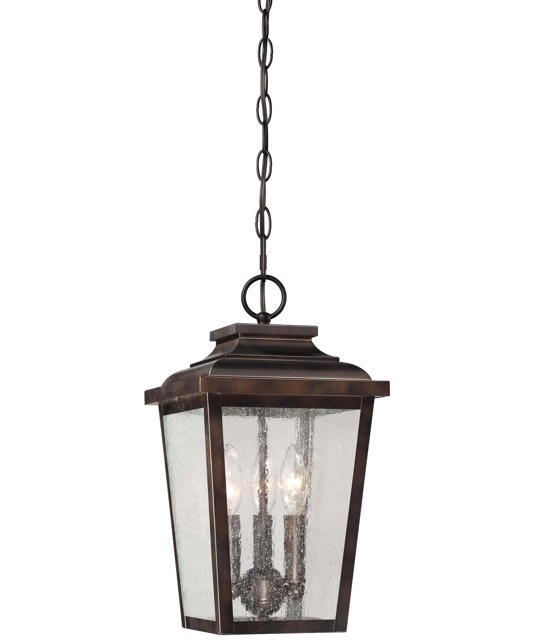 Outdoor Hanging Glass Lanterns Pertaining To Most Recent Minka Lavery 72174 Irvington Manor 9 Inch Wide 3 Light Outdoor (View 9 of 20)
