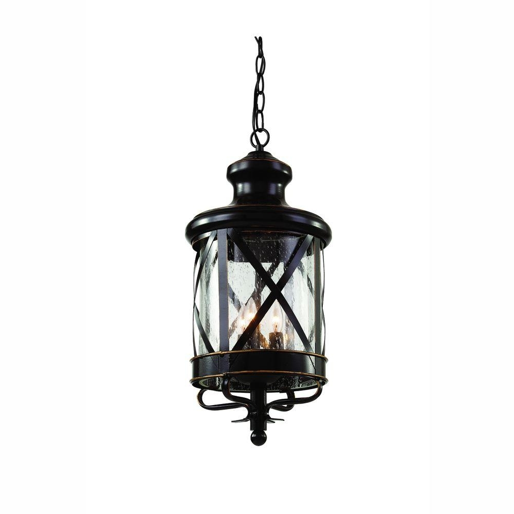 Outdoor Hanging Glass Lanterns Regarding Most Recent Bel Air Lighting Carriage House 3 Light Outdoor Oiled Rubbed Bronze (View 11 of 20)