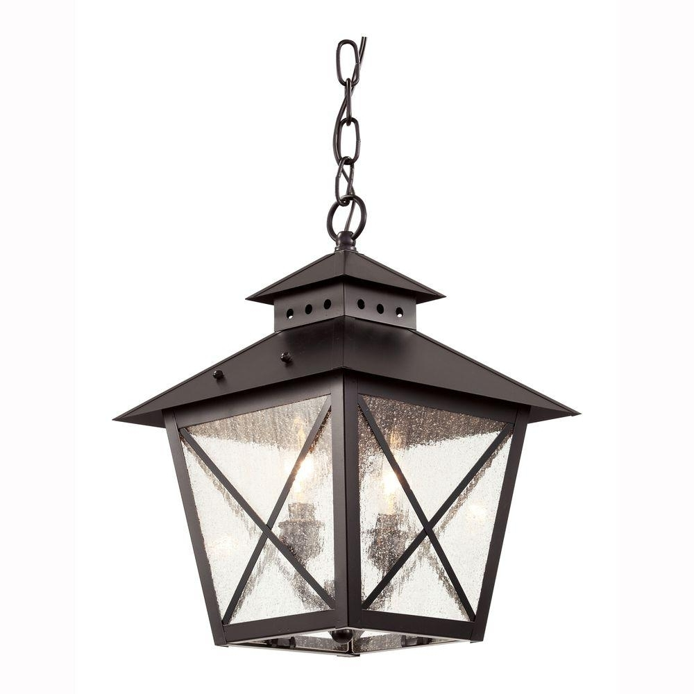 Outdoor Hanging Glass Lights With Regard To Preferred Bel Air Lighting Farmhouse 2 Light Outdoor Hanging Black Lantern (View 13 of 20)