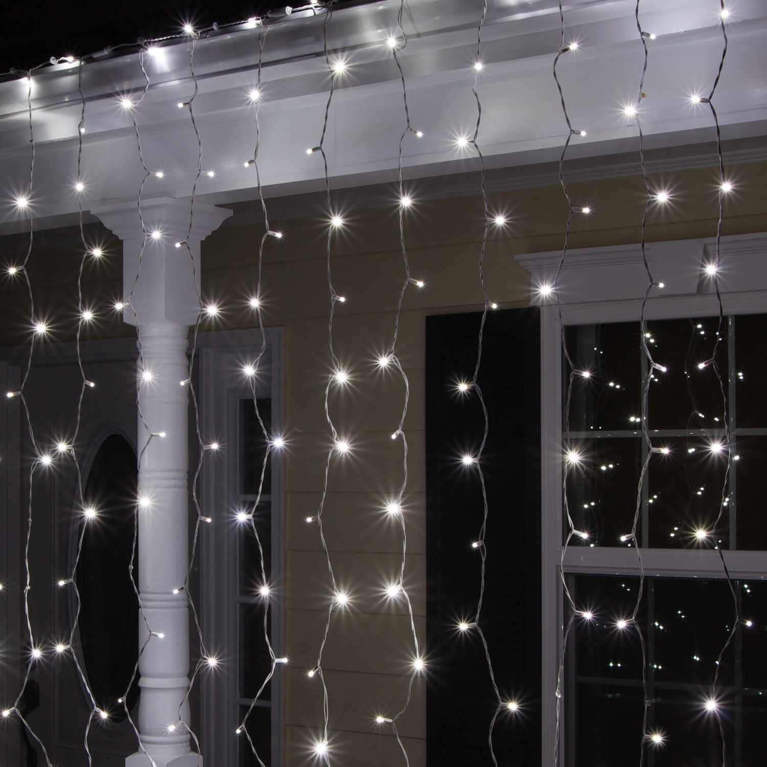 """Outdoor Hanging Icicle Lights With Trendy Led Christmas Lights – 66"""" Drop Cool White Led Curtain Lights, (View 8 of 20)"""
