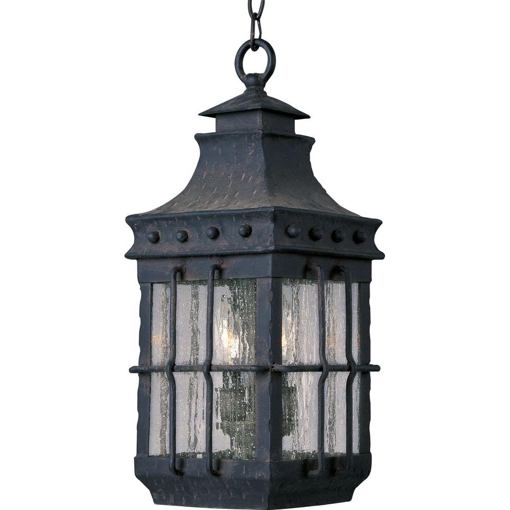 Outdoor Hanging Lantern Lights In Preferred Maxim Lighting Nantucket 3 Light Country Forge Outdoor Hanging (View 12 of 20)