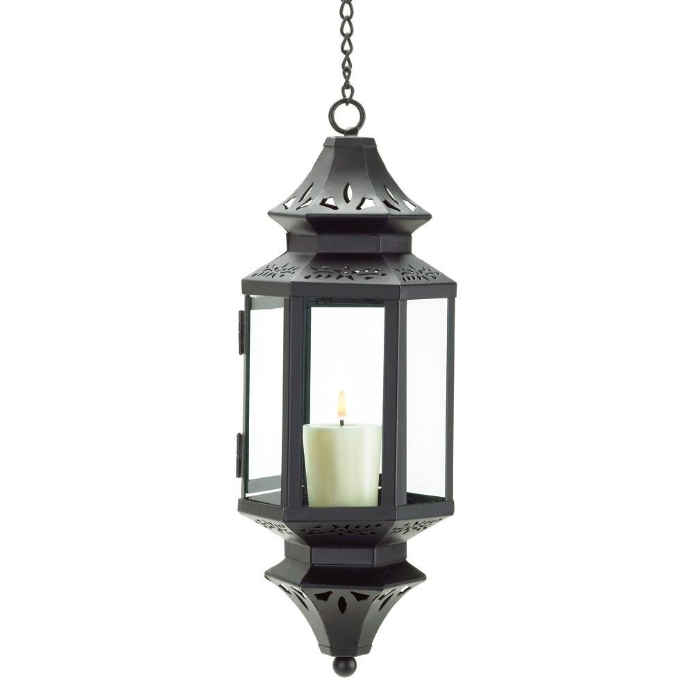 Outdoor Hanging Lanterns Candles Within Most Up To Date Hanging Lanterns, Moroccan Outdoor Candle Glass Metal Lantern (View 15 of 20)