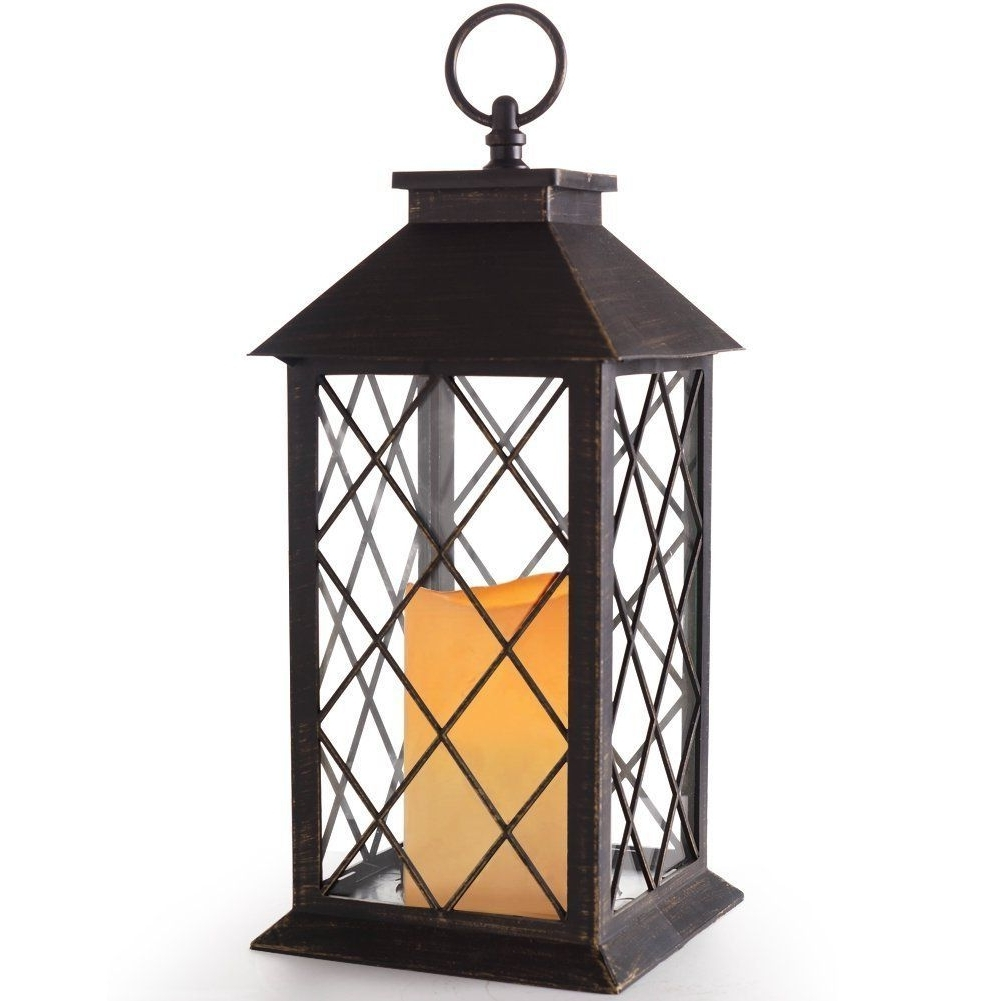 "Outdoor Hanging Lanterns For Candles Inside Most Up To Date Amazonsmile: Bright Zeal 14"" Tall Vintage Candle Lantern With Led (View 18 of 20)"