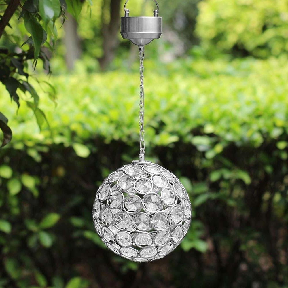 Outdoor Hanging Light Balls Pertaining To Newest Aria Solar Hanging Crystal Ball Light (View 13 of 20)
