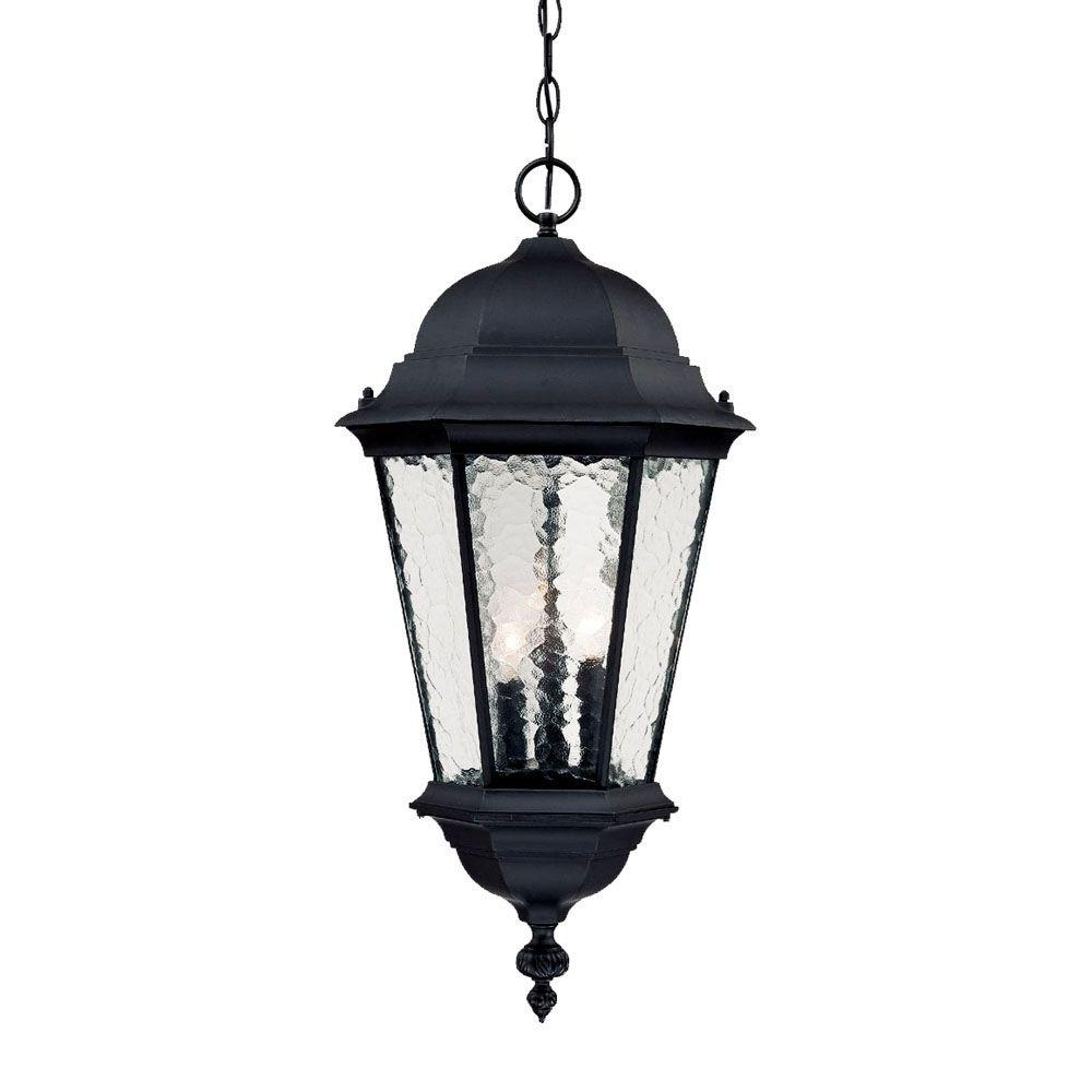 Outdoor Hanging Light Fixtures In Black For Most Recently Released Acclaim Lighting Telfair Collection 3 Light Matte Black Outdoor (View 7 of 20)