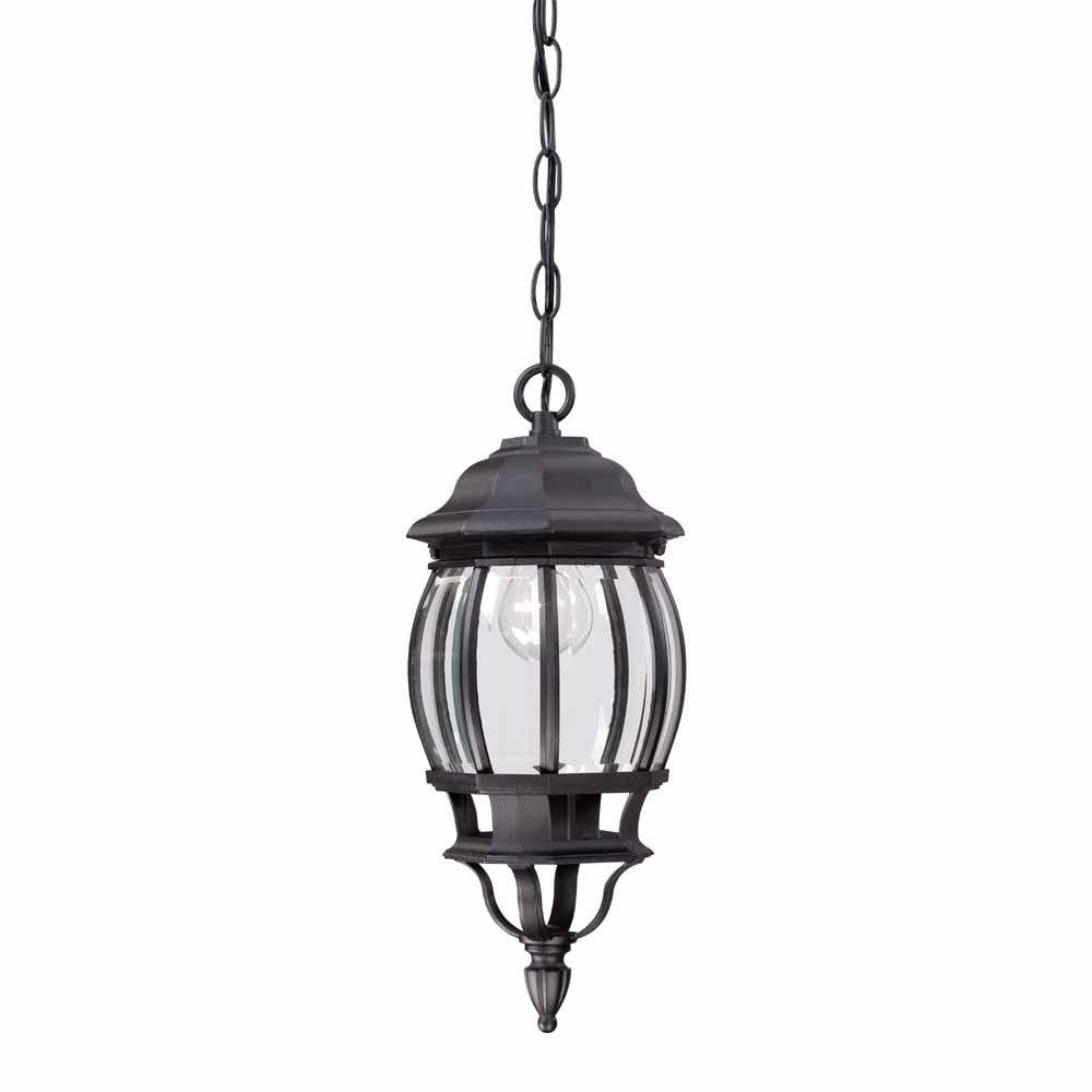 Outdoor Hanging Light Fixtures In Black Throughout Newest Hampton Bay 1 Light Black Outdoor Hanging Lantern Hb7030 05 – The (View 15 of 20)