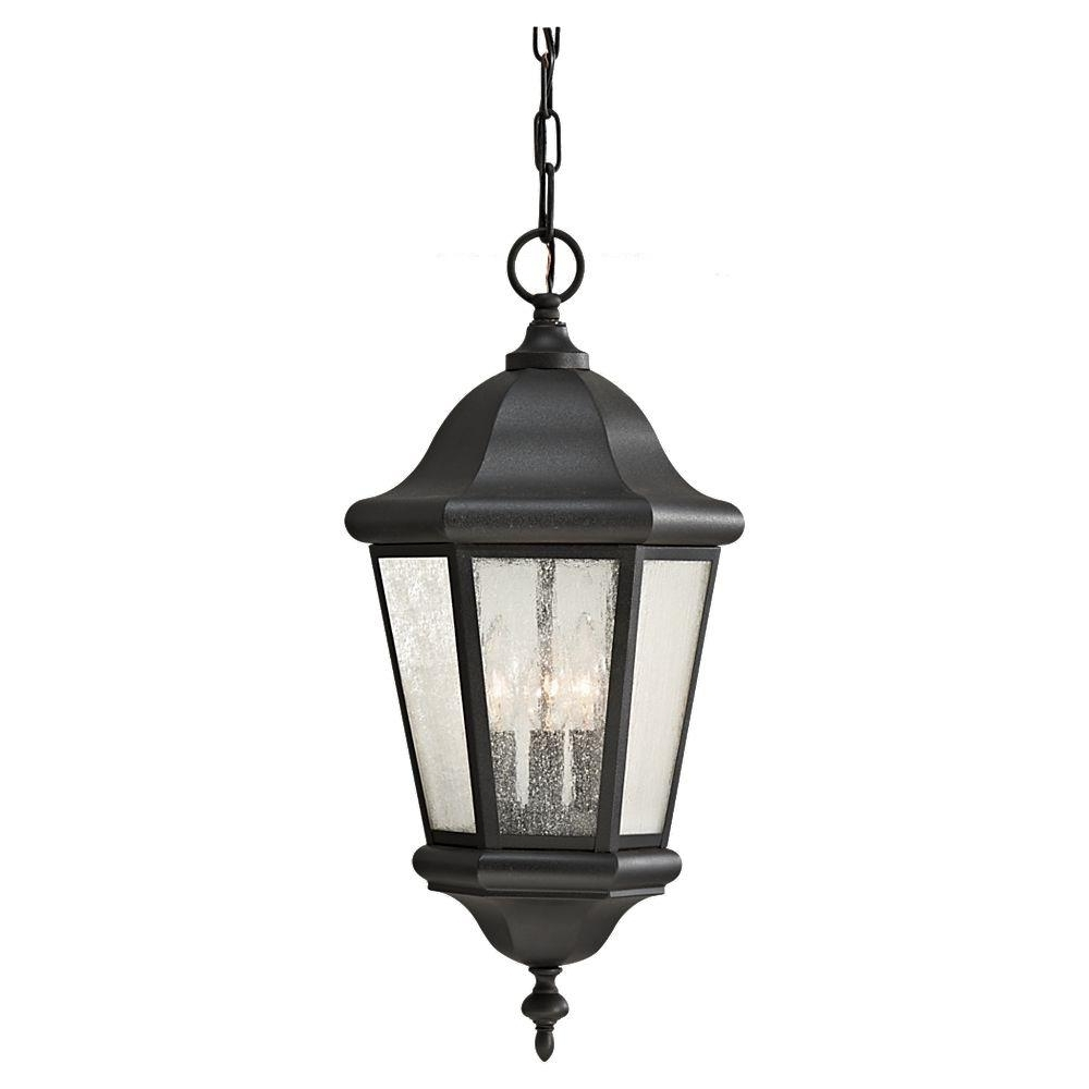Outdoor Hanging Light In Black In Most Recent Feiss Martinsville 3 Light Black Outdoor Pendant Ol5911Bk – The Home (View 3 of 20)