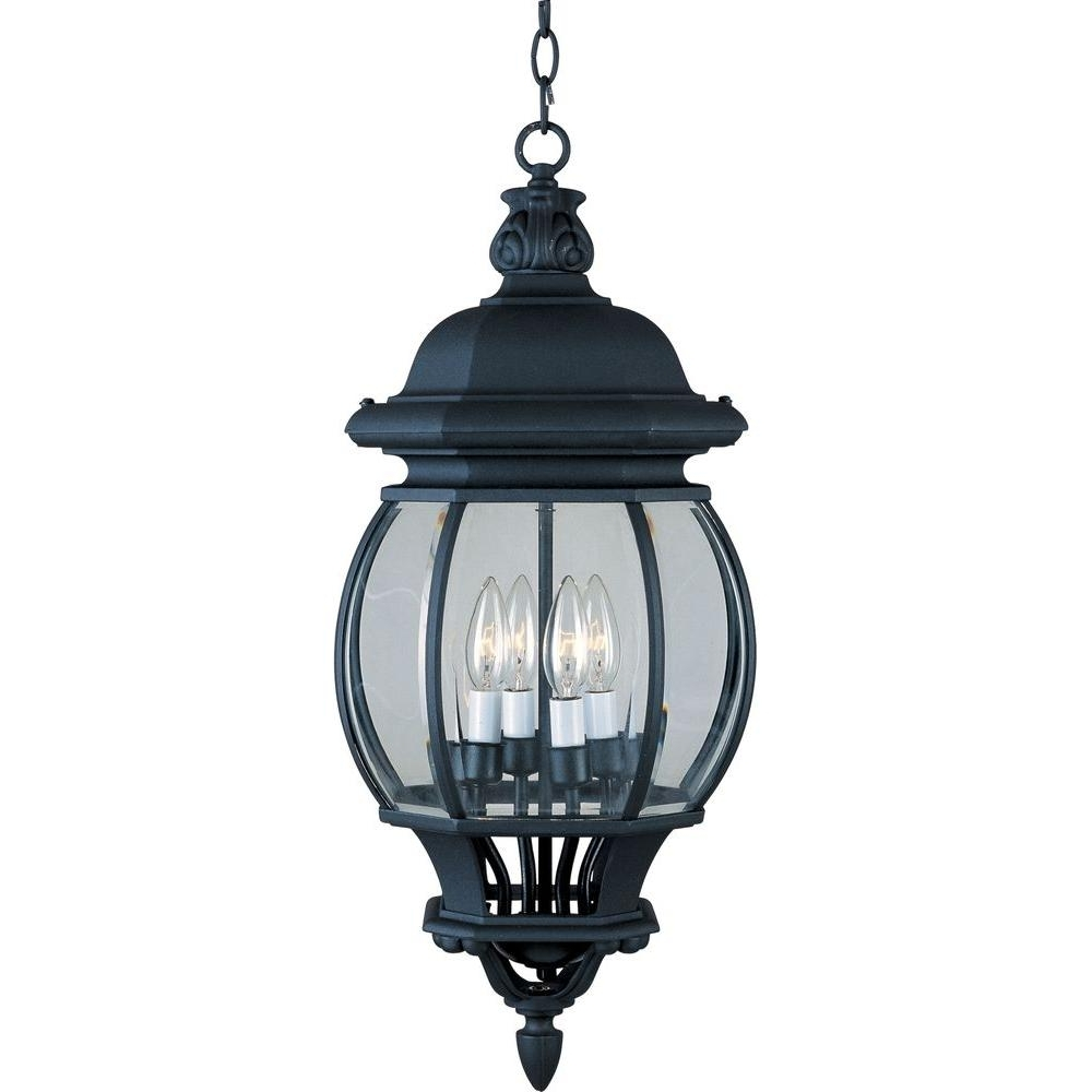 Outdoor Hanging Light In Black Intended For Well Liked Maxim Lighting Crown Hill 4 Light Black Outdoor Hanging Lantern (View 14 of 20)
