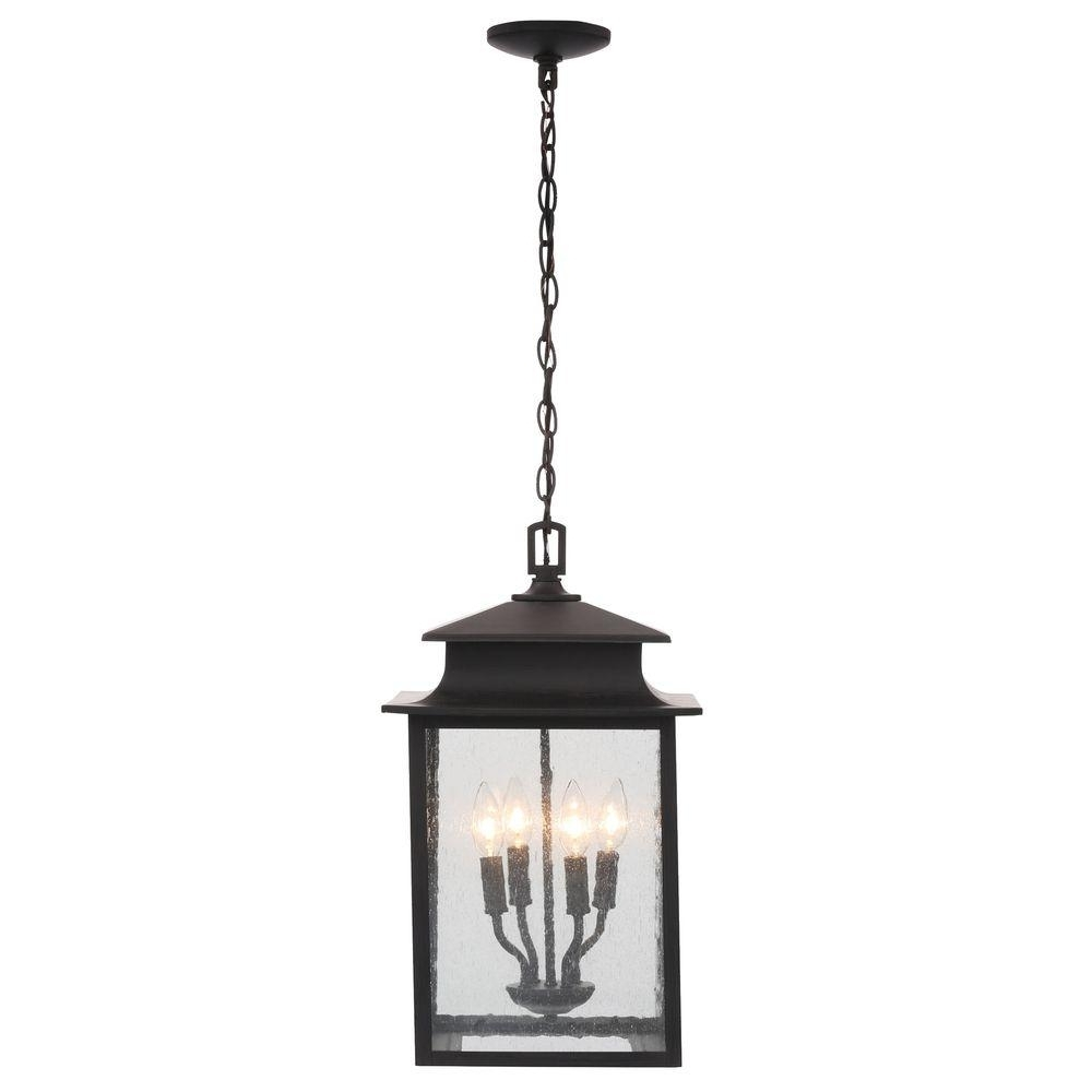 Outdoor Hanging Lighting Fixtures At Home Depot In Favorite World Imports Sutton Collection 4 Light Rust Outdoor Hanging Lantern (View 9 of 20)