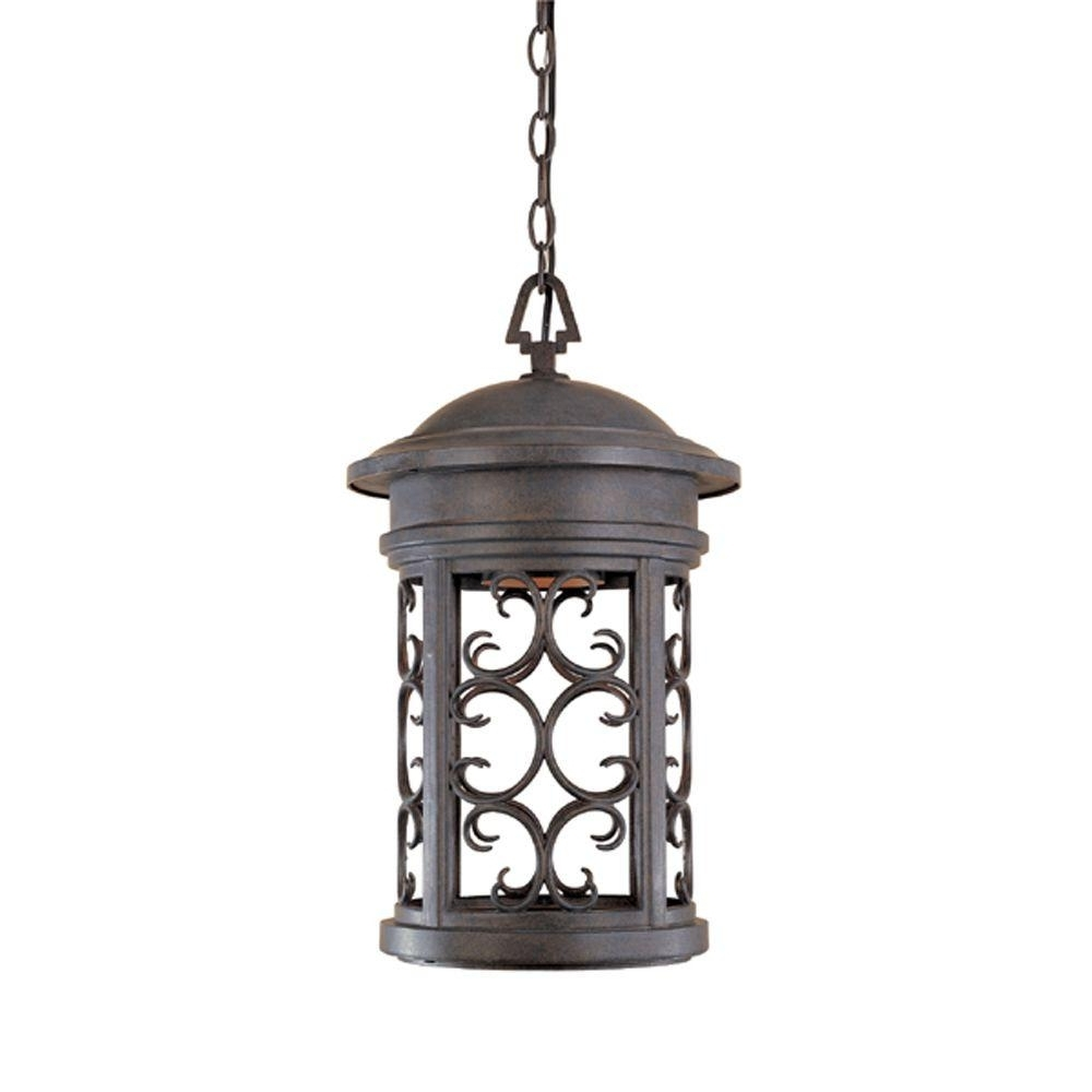 Outdoor Hanging Lighting Fixtures At Home Depot Regarding 2018 Designers Fountain Chambery Mediterranean Patina Outdoor Hanging (View 17 of 20)