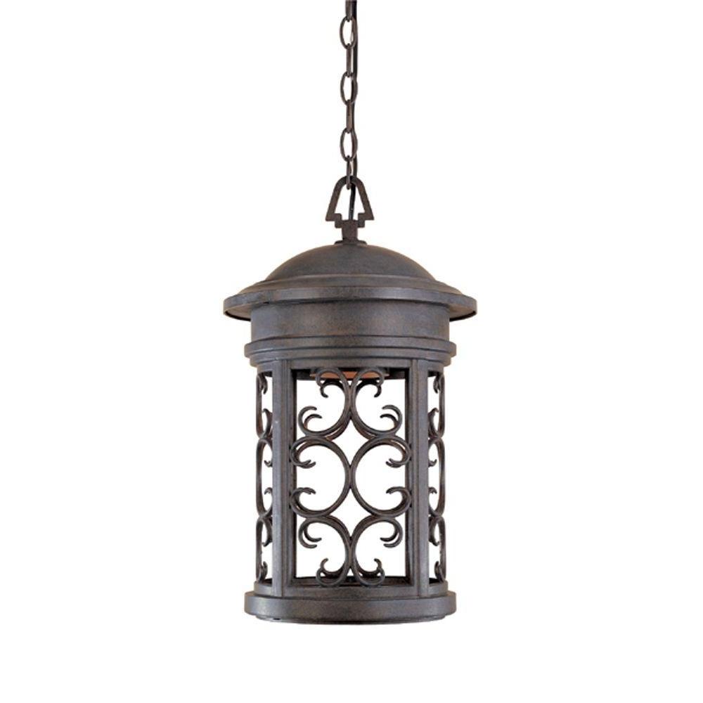 Outdoor Hanging Lighting Fixtures At Home Depot Regarding 2018 Designers Fountain Chambery Mediterranean Patina Outdoor Hanging (View 12 of 20)