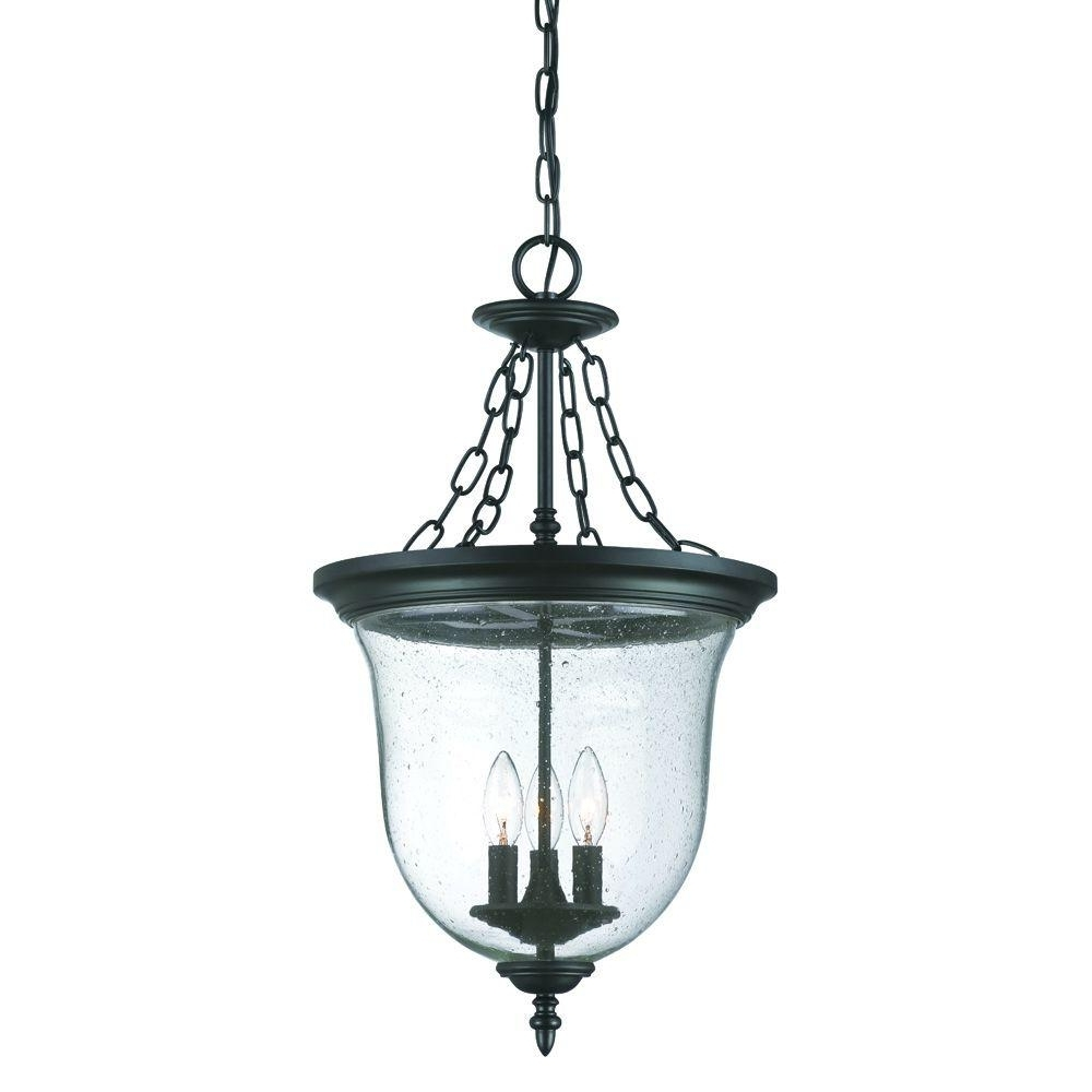 Outdoor Hanging Lighting Fixtures At Home Depot Within Trendy Acclaim Lighting Belle Collection 3 Light Matte Black Outdoor (View 10 of 20)