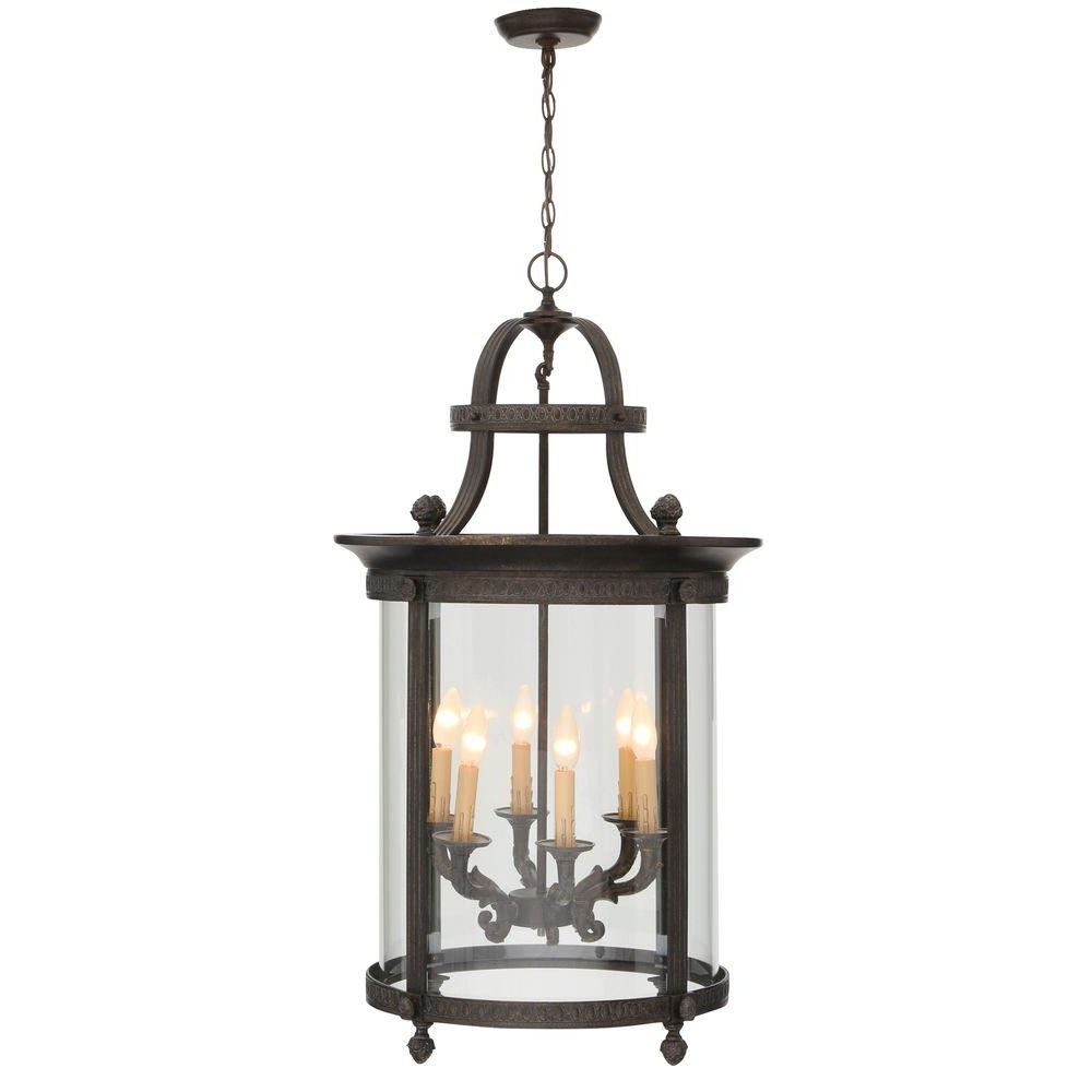 Outdoor Hanging Lights At Home Depot Inside Well Liked World Imports Chatham Collection 6 Light French Bronze Outdoor (View 11 of 20)