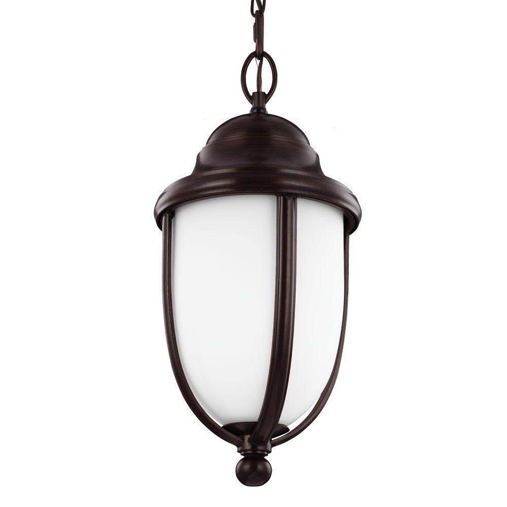 Outdoor Hanging Lights At Home Depot Pertaining To Fashionable Feiss Vintner Outdoor 1 Light Heritage Bronze Outdoor Pendant (View 13 of 20)