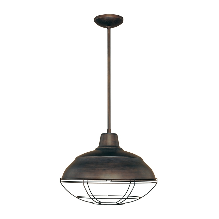 Outdoor Hanging Lights At Lowes Within Well Known Shop Millennium Lighting Neo Industrial 17 In Rubbed Bronze (View 7 of 20)