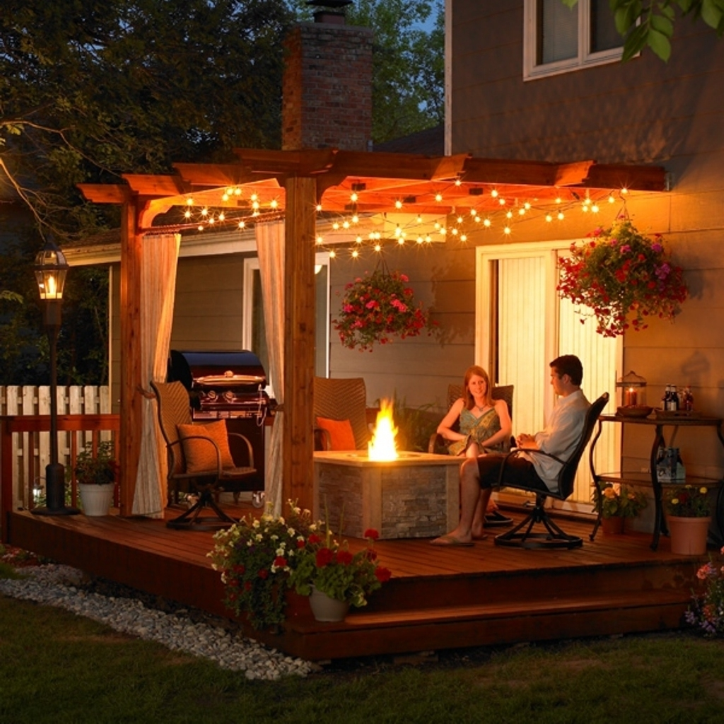 Outdoor Hanging Lights For Pergola Regarding Trendy Romantic Hanging Light Ideas For Elegant Patio With Wooden Pergola (View 11 of 20)