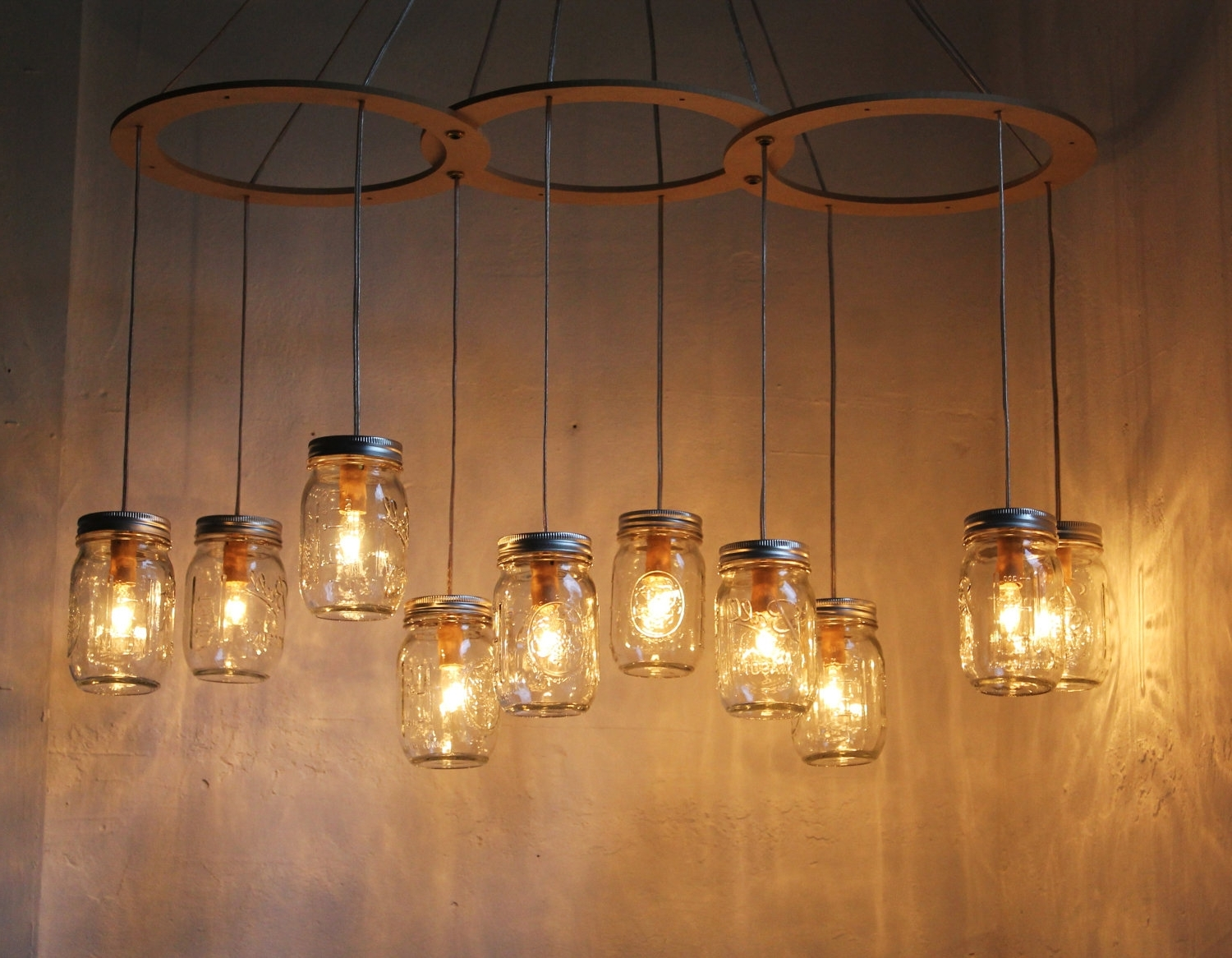 Outdoor Hanging Mason Jar Lights In Favorite Rustic Kitchen Lighting Ideas With Diy Hanging Mason Jar Candle (View 3 of 20)