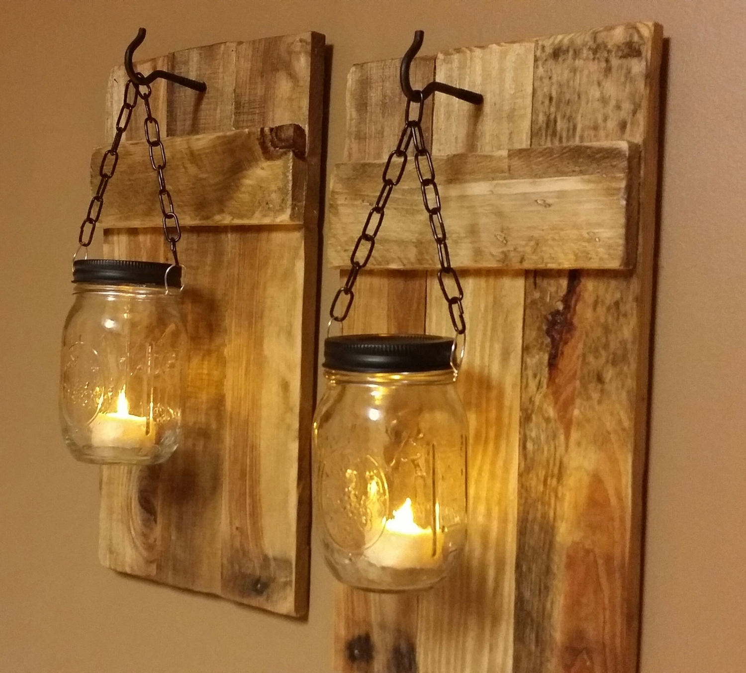 Outdoor Hanging Mason Jar Lights Within Widely Used Outdoor Wall Lighting Ideas With Diy Hanging Mason Jar Candle (View 5 of 20)