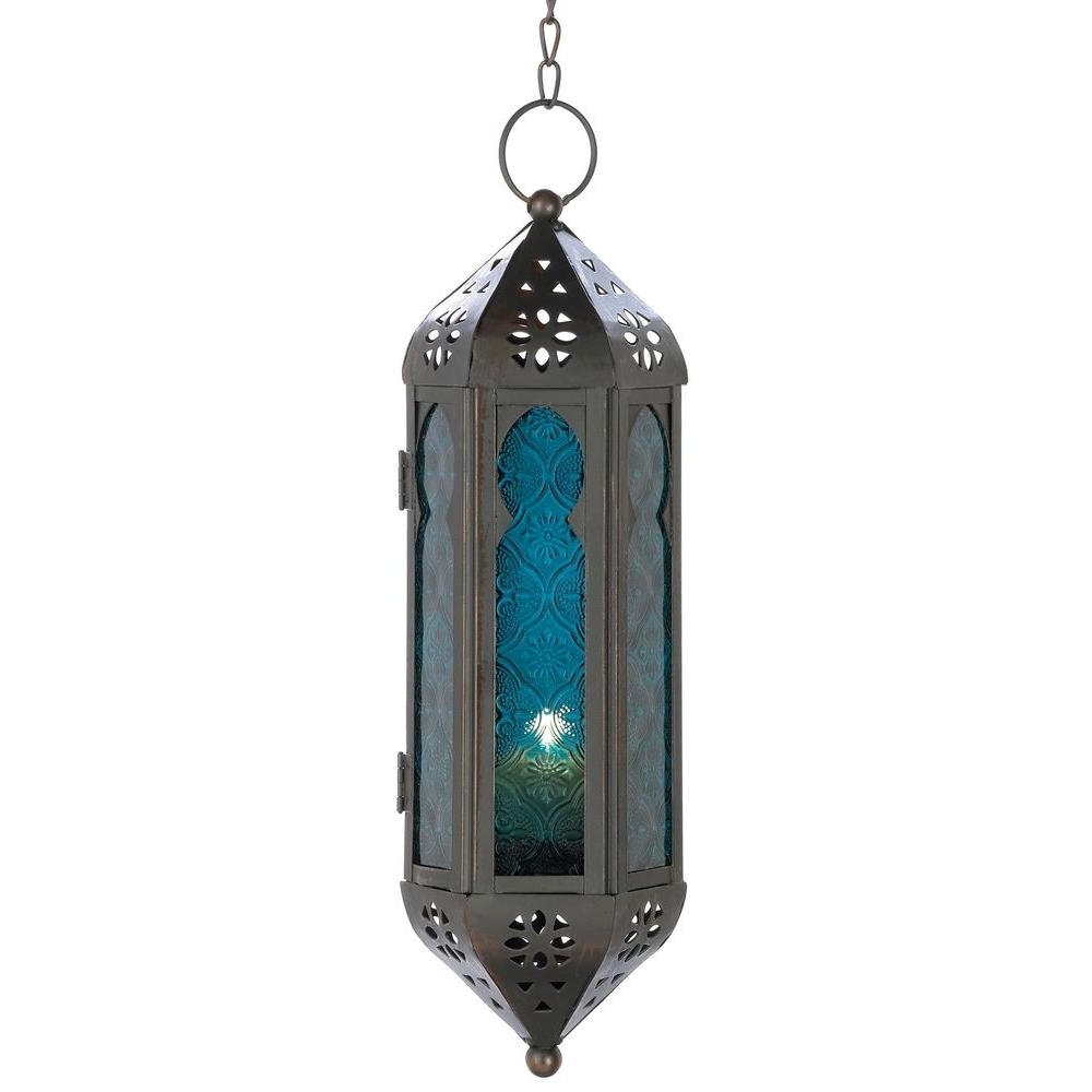 Outdoor Hanging Moroccan Lanterns In Trendy Malibu Creations Blue Moroccan Candle Lantern 08101420 – The Home Depot (View 14 of 20)
