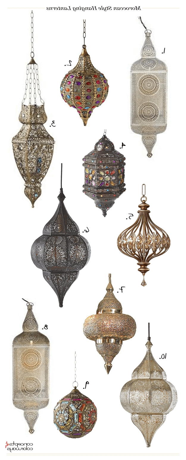 Outdoor Hanging Moroccan Lanterns Inside Popular Moroccan Style Hanging Lanterns (View 10 of 20)