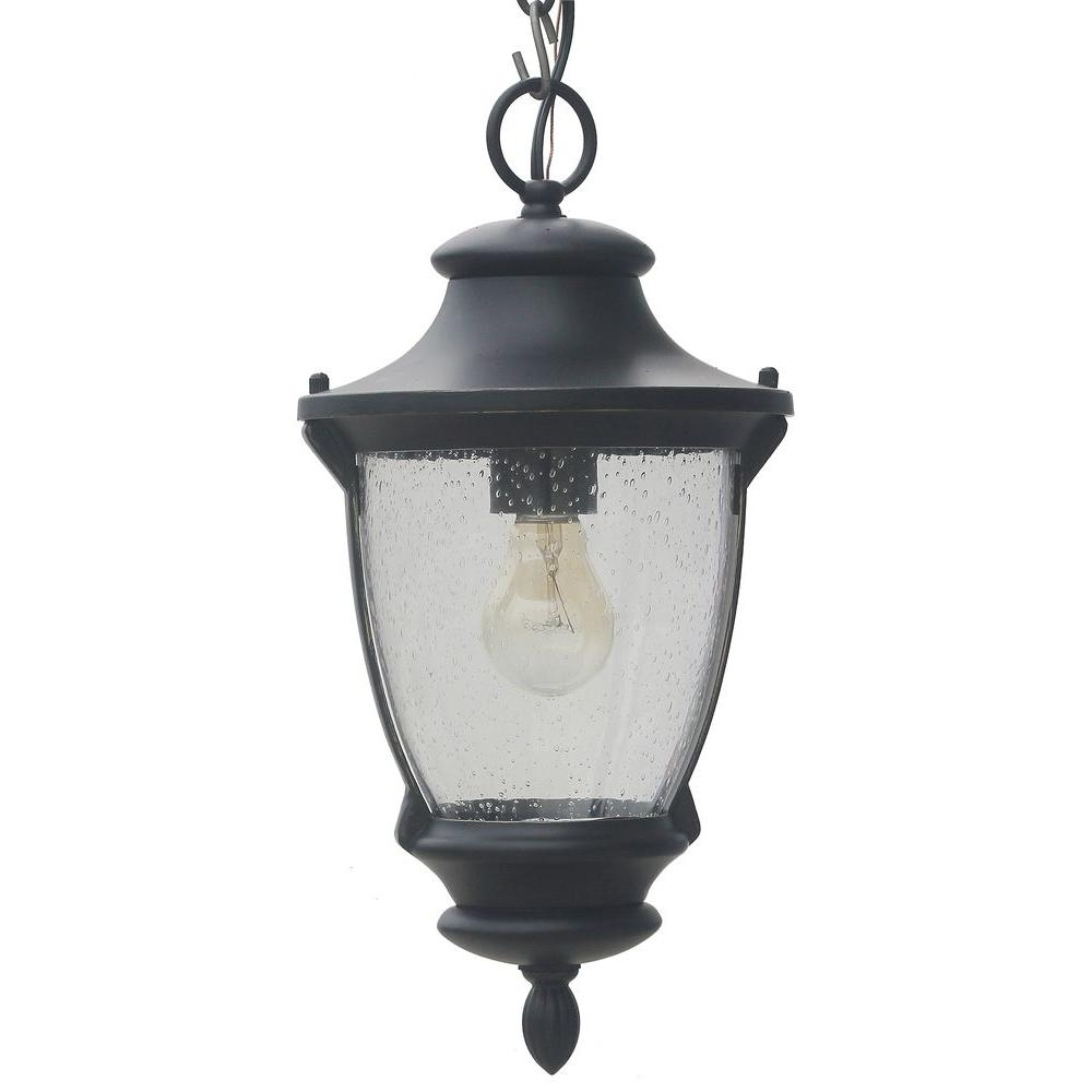 Outdoor Hanging Oil Lanterns Intended For Recent Home Decorators Collection Wilkerson 1 Light Black Outdoor Chain (View 12 of 20)