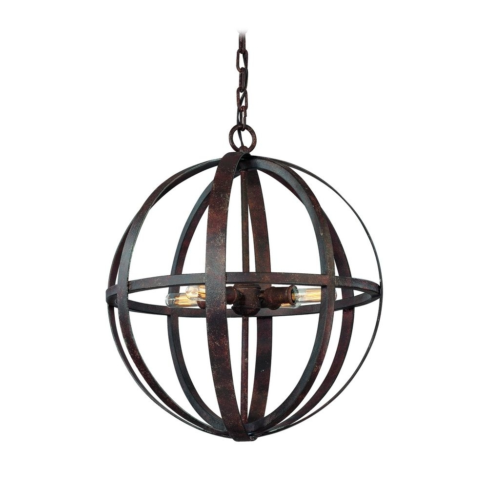 Outdoor Hanging Orb Lights With Trendy Small Orb Pendant Light In Weathered Iron Finish – 4 Lights (View 3 of 20)