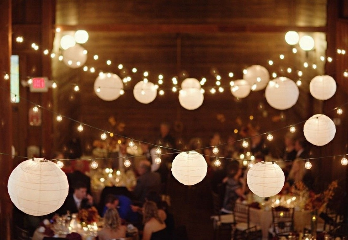 Outdoor Hanging Paper Lantern Lights Intended For Preferred Large White Paper Lantern String Lights – Realrun Home Blog (View 17 of 20)