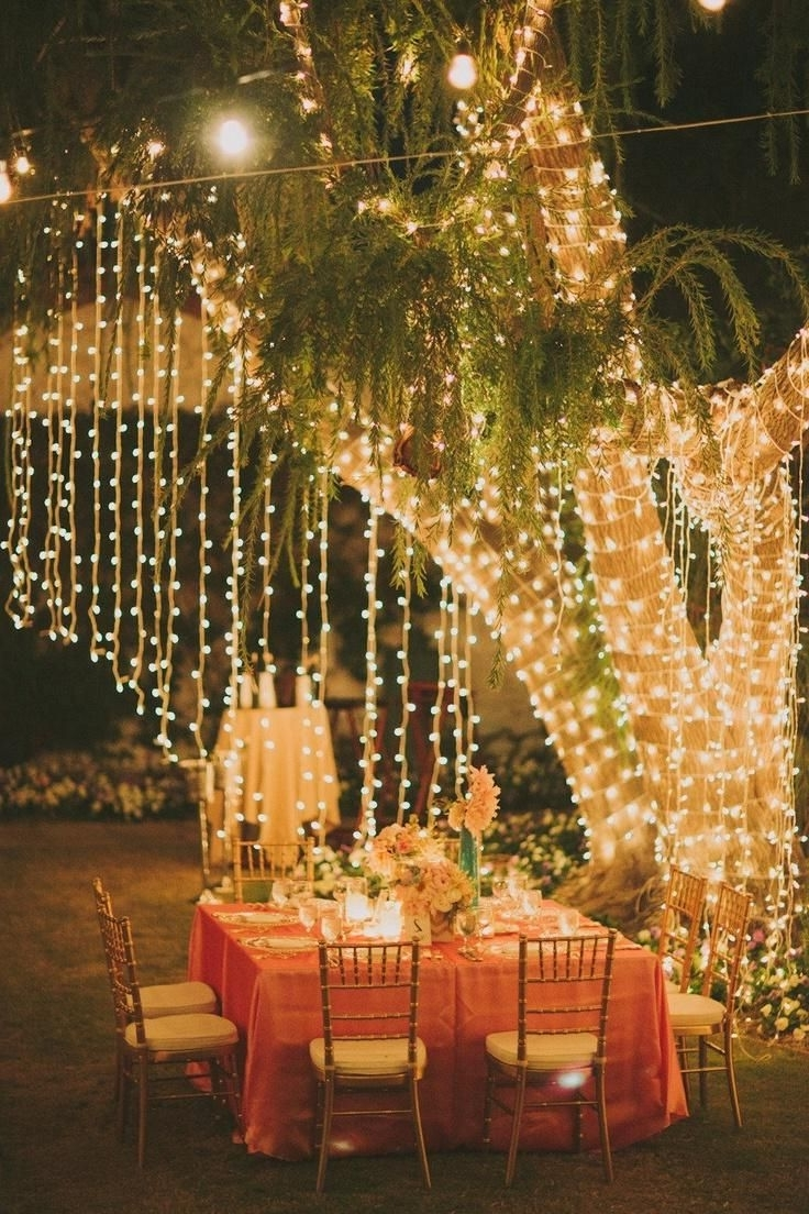 Outdoor Hanging Party Lanterns Within Most Current Image Result For Hanging Fairy Lights Wedding (View 4 of 20)