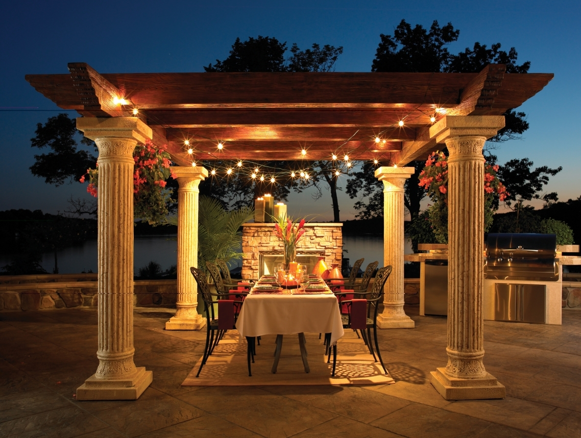 Outdoor Hanging Patio Lanterns Within Fashionable Patio Ideas: Exterior Outdoor Hanging Lanterns With Dining Table (View 14 of 20)